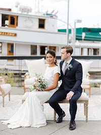 Dockside Bride and Groom with Background Boat